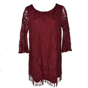 ING Womens Lace Fringe-Trim Dress 2X New